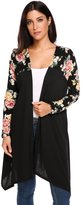 Meaneor Women's Open Front Asymmetric Hem Floral Long Sleeve Cardigan