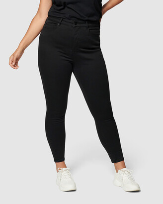 Forever New Curve - Women's Black Jeans - Bianca Curve High Rise Ankle Grazer Jeans - Size One Size, 16 at The Iconic