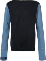 Juun.J denim sleeves boatneck sweatshirt - men - Cotton/Polyester - 46