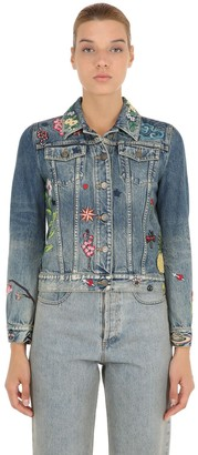 Gucci Embroidered Patches Cotton Denim Jacket