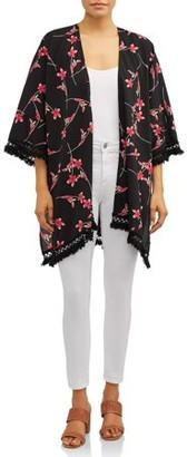 Love Sadie Women's Crochet Trim Floral Kimono