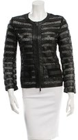 Armani Collezioni Lace-Trimmed Leather Jacket