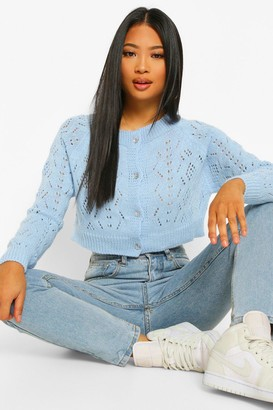 boohoo Petite Knitted Button Detail Cropped Cardigan