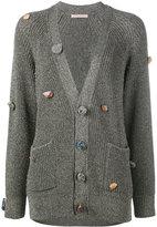 Christopher Kane gemstone buttoned cardigan - women - Viscose/Metallic Fibre - XS