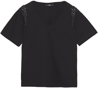 7 For All Mankind Embellished Cotton-jersey T-shirt