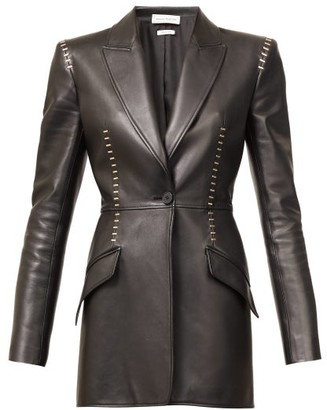 Alexander McQueen Staple-stitched Leather Jacket - Black