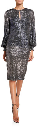 Badgley Mischka Ombre Sequin Poet-Sleeve Keyhole Neck Dress