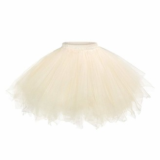 Canbe Women Mesh Tulle Skirt Petticoat Fancy Dress Fashion Elastic Mini Gauze Tulle Ballet Pleated Fluffy Princess Skirt for Dress-up Parties Dancing Red