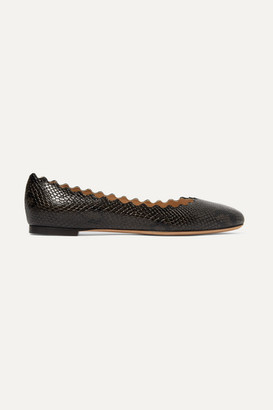 Chloé Lauren Scalloped Snake-effect Leather Ballet Flats - Dark brown