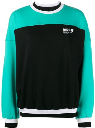 MSGM Colour-Block Cotton Sweatshirt