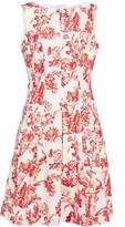 Oscar de la Renta Pleated Floral-print Cotton-blend Jacquard Dress