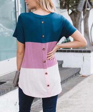 Amaryllis Women's Tee Shirts TEAL - Teal & Mauve Color Block Button-Back V-Neck Tee - Women & Plus