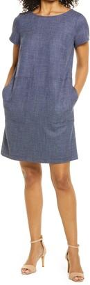 Connected Apparel Denim Tweed Short Sleeve Dress