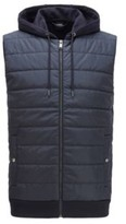 HUGO BOSS - Hooded gilet with lightweight padding - Dark Blue