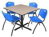 "BEIGE Hendrix Square Breakroom Table Set Symple Stuff Chair Finish: Blue, Size: 29"" H x 36"" W 36"" D, Top Finish"