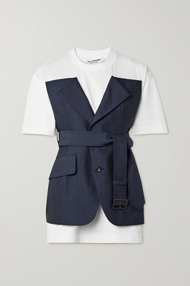 Junya Watanabe Layered Belted Cotton-jersey And Wool And Mohair-blend Top - White