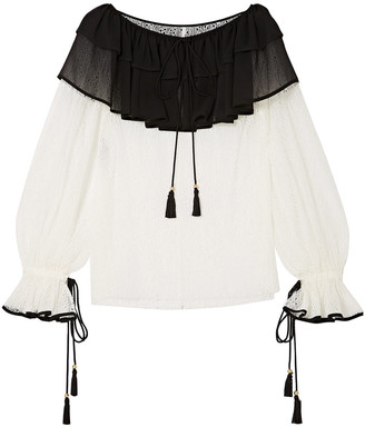 Philosophy di Lorenzo Serafini Ruffle-trimmed Lace And Chiffon Blouse