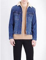 The Kooples Sherpa-collar stretch-denim jacket