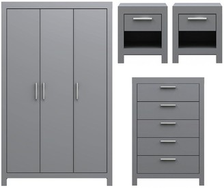 Cuba 4 Piece Package - 3 Door Wardrobe, 5 Drawer Chest and 2 Bedside Chests
