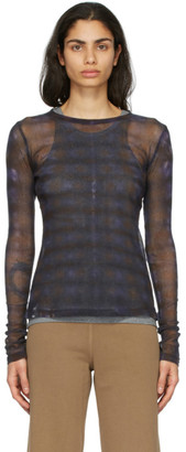 Raquel Allegra Purple Mesh Long Sleeve Top