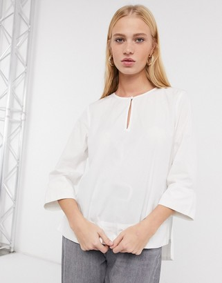 Selected Ami Woven top in Bright White