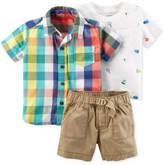 Carter's 3-Pc. Plaid Shirt, T-Shirt & Shorts Set, Baby Boys