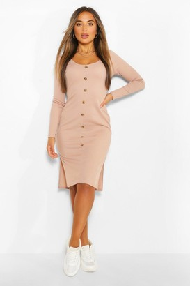 boohoo Petite Button Detail V Neck Rib Midi Dress