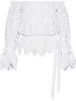 Miguelina Aurelia Off-the-shoulder Broderie Anglaise Cotton Top - White