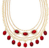 MONET JEWELRY Monet Red and Clear Crystal Layered Necklace