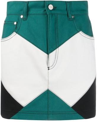 Kirin Colour-Block Denim Skirt