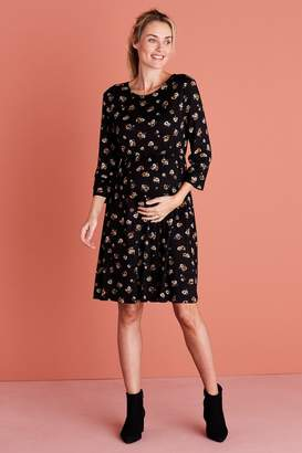 Next Womens Black Floral Maternity Jersey Dress - Black