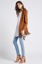 BCBGeneration Faux-Suede Fringe Jacket - Brown
