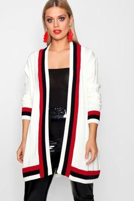boohoo Plus Contrast Stripe Chunky Cardigan
