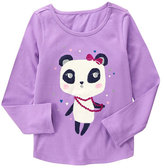 Gymboree Purple & White Panda Glitter Top - Girls