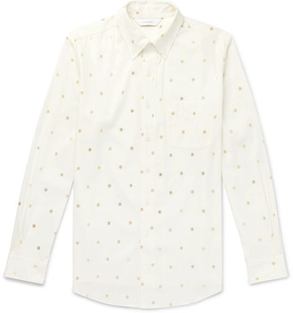 SASQUATCHfabrix. Button-Down Collar Metallic Printed Cotton Shirt - Men - White