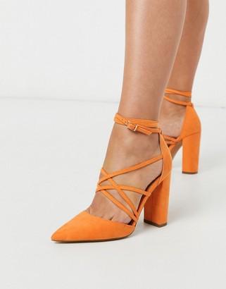 ASOS DESIGN Pick Me Up tie block heels in orange