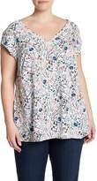 DR2 by Daniel Rainn Short Sleeve V-Neck Floral Print Blouse (Plus Size)