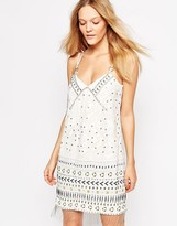 French Connection Cerro Beading & Studded Strappy Mini Dress