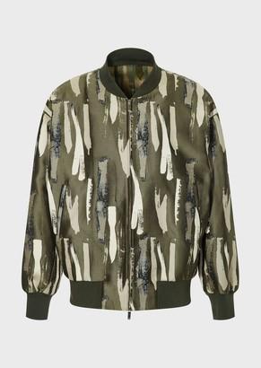 Emporio Armani Bomber Jacket With Jacquard Brushstroke Motif