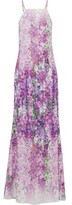 Badgley Mischka Pintucked Floral-Print Cady Gown