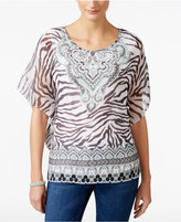 JM Collection Sheer-Sleeve Printed Top, Only at Macy's