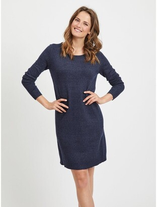 Vila Jumper Shift Dress with Long Sleeves and Crew Neck