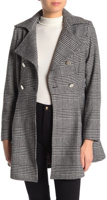 Laundry by Shelli Segal Houndstooth Double Breasted Wool Blend Flared Jacket