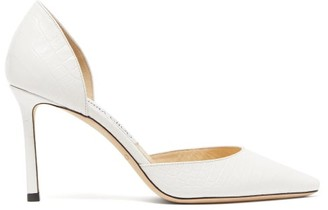 Jimmy Choo Esther 85 Crocodile-effect Leather Pumps - White