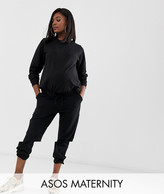 Asos DESIGN Maternity tracksuit ultimate sweat / under the bump jogger with tie
