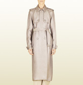 Gucci Nude Canvas Double-Breasted Trench