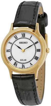 Seiko Solar White Dial Black Leather Ladies Watch SUP304