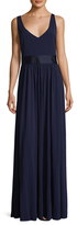 Vera Wang V Neck Gathered Gown