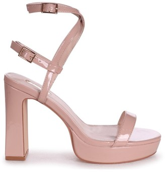 Chloé Linzi Nude Patent Platform Heels With Double Crossover Ankle Straps