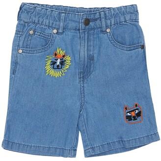 Stella McCartney Kids Embroidered Cotton Chambray Shorts